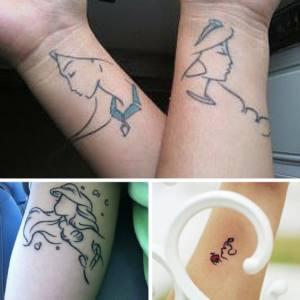 Princesas Disney Tatuaje minimalista