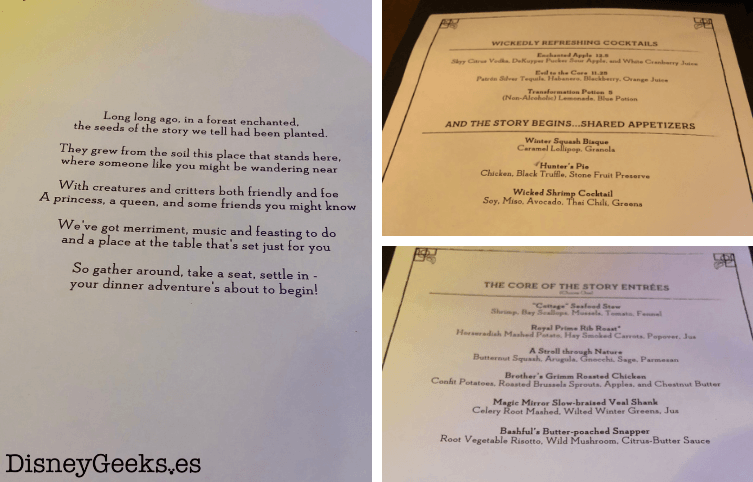 Menu Storybook dining